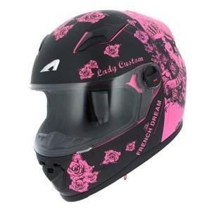 Casque moto femme rose et noir