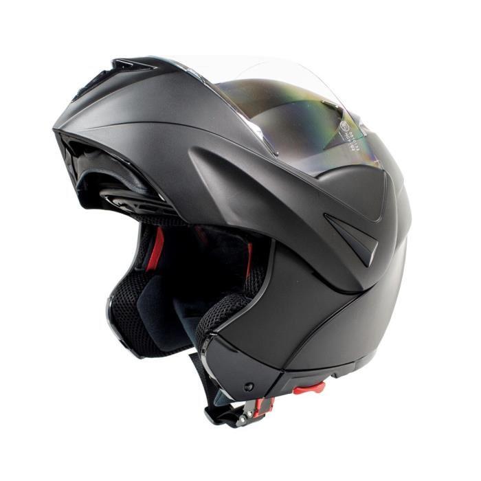 Amx 910 casque moto scooter intégral modulable noir mat