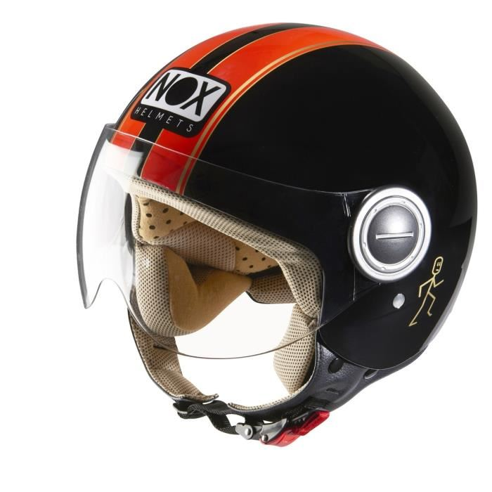 Casque moto jet noir et orange